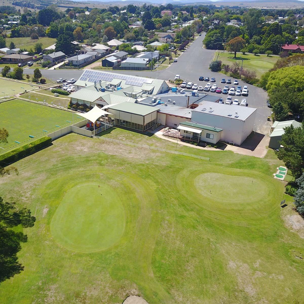 Aerial of the he Braidwood Servicemens Club Golf Course