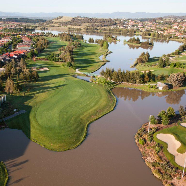 Arial views of the golf course at Gungahlin Lakes Golf Club