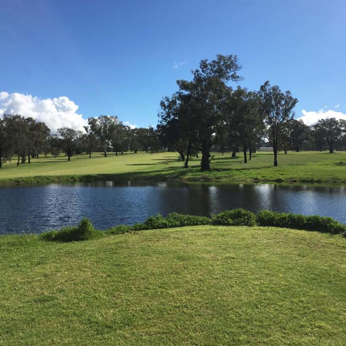 scene overlooking a dam on Barraba Golf Club