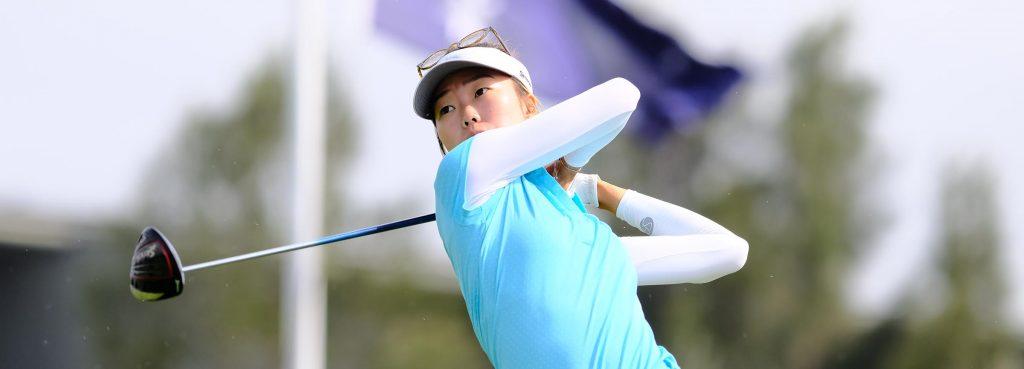 Grace Kim hits a tee shot
