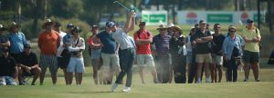 Justion Warren hits a golf shot in the final round of the NSW Open