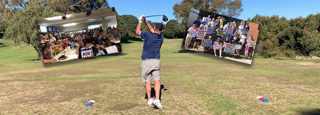 A golfer hitting a shot at Marrickville Golf Club