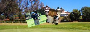 photo composite of golfer
