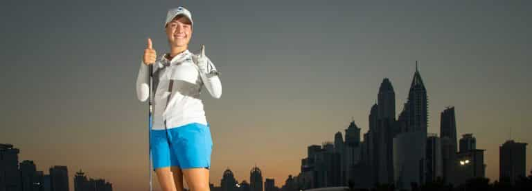 Stephanie Kyriacou with the dubai skyline behind her