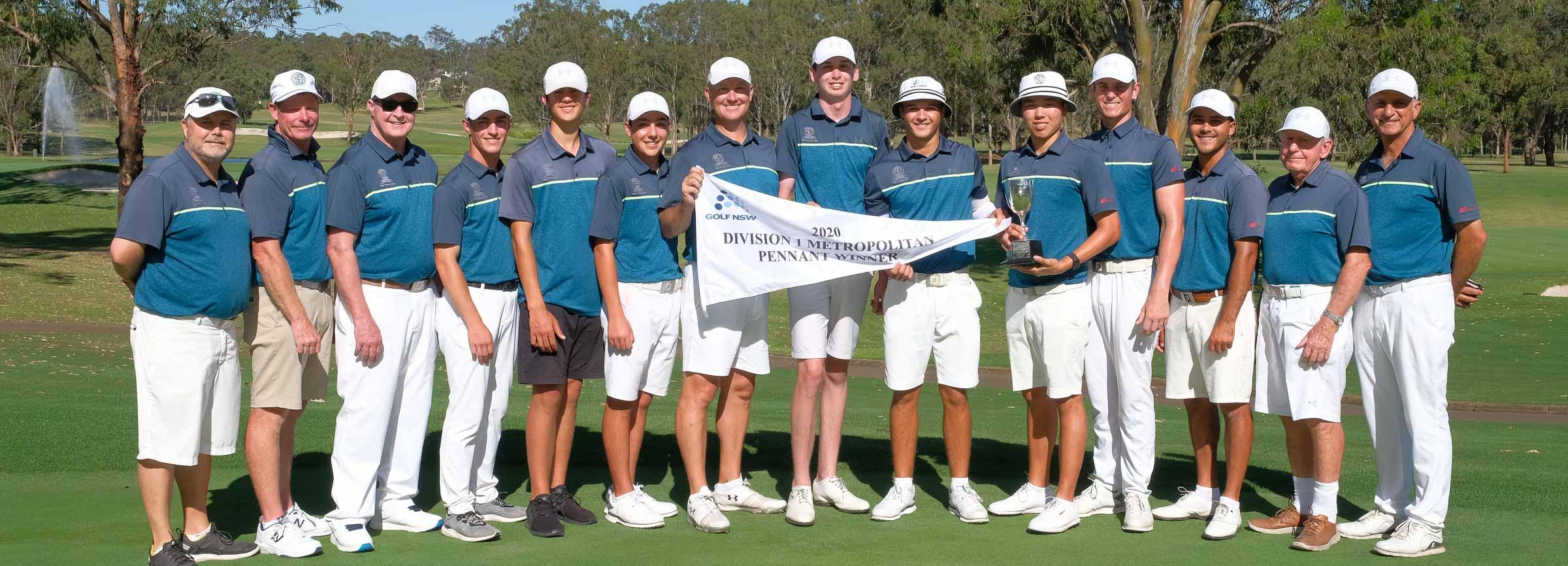 team standing behind pennant