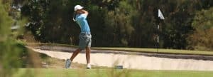 Golfer hitting a shot in the final of the Victorian Amateur