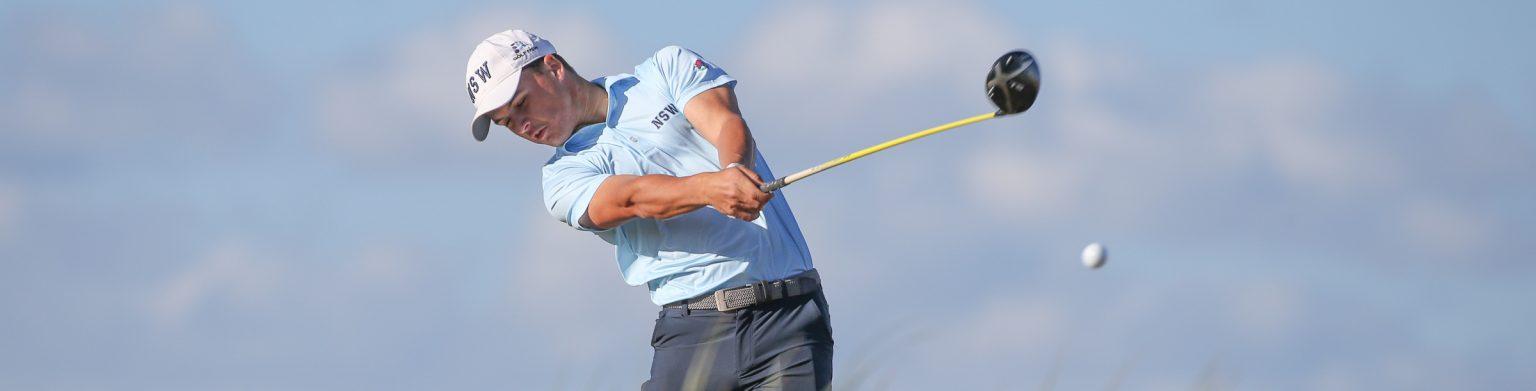 Golfer hitting a ball