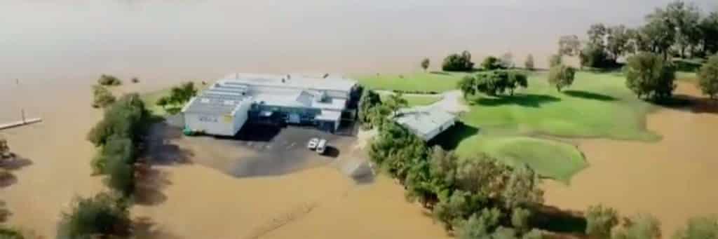 a flooded golf course